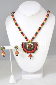 Terracotta Black and Gold Beads Necklace and Earring set