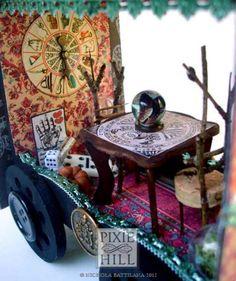 gypsy items   miniature gypsy caravan fortune tellers wagon by pixie hill studio