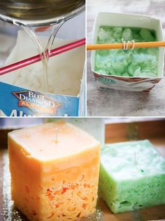 How to make these beautiful ice candles, with leftover candle wax and old milk…
