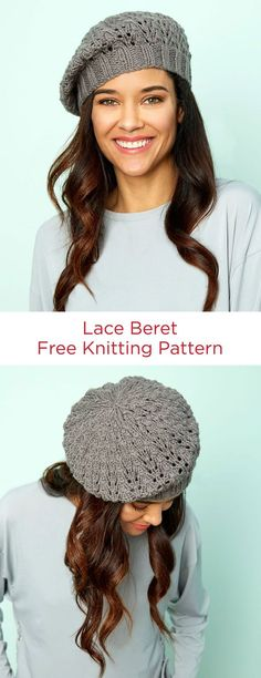Lace Beret Free Knitting Pattern in Red Heart Yarns -- A lacy update to a classic shape, this beret is a great way to flex your lace knitting muscles.