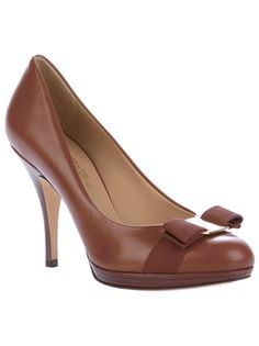 Chestnut brown leather court shoes from Salvatore Ferragamo