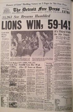 1957 Last Lions NFL Championship over Cleveland Detroit Lions Logo, Detroit Lions Football, Detroit Sports, Detroit Michigan, Football Is Life, School Football, Football Cards, Football Season, Skinny
