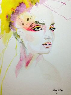 Original Watercolour Ecoline Painting Modern Girl Abstract Art by MAG ZEBEN A4 http://stores.ebay.co.uk/magzeben/