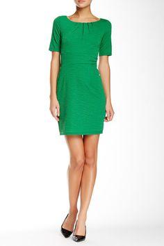Textured Short Sleeve Dress (Petite)