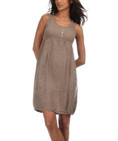Look what I found on #zulily! Taupe Perla Linen Dress by Emma Jones #zulilyfinds