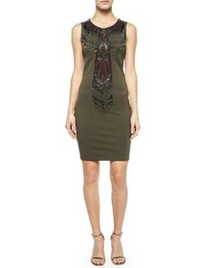 Geometric Embellished Sleeveless Dress, Military by Haute Hippie at Bergdorf Goodman.