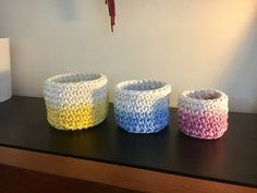 Dip dyed crochet nesting baskets in 100% cotton rope - set of 3 by Macrametry on Etsy