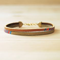 Leather Bracelet in Tan with Pink and Blue The par sonofasailor, $28,00