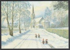 """Kjell m. """"Beundrere av Rosemarie"""" Hamar Domkirke Vintage Postcards, Faeries, Elves, Troll, Norway, Sweden, Scandinavian, Illustration Art, Prints"""