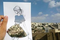 Fashion Illustrator Completes His Cut-Out Sketches With Street Scenes. Architect and fashion illustrator Shamekh cleverly completes his fashion sketches with patterns and scenery that he comes across on the streets. Dress Sketches, Fashion Sketches, Fashion Illustrations, Fashion Drawings, Illustration Fashion, Collage Illustrations, Silhouette Mode, Cut Out Art, Illustration Mode