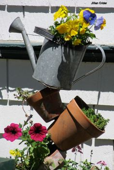 Applegate garden accessory - tower of watering can, pots, pansies and more ...