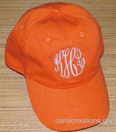 Monogrammed Baseball Cap by CarolsCreationsLA on Etsy, $15.00