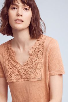 Slide View: 1: Laced Bib Linen Tee