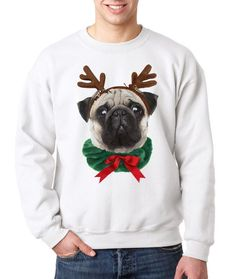 Pug Dog Reindeer Ugly Christmas Sweater Funny Shirt Cute Gift Ugly Sweatshirt  Unisex Girls Mens Top, also available in kids size tshirt by DatBoutiqueNola on Etsy