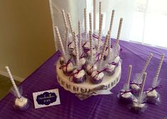 Purple Marshmallow Pops (Dessert & Sweets Idea) Elegant Sofia the First Birthday Party | CatchMyParty.com