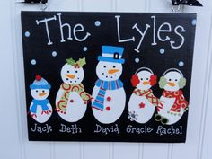 Personalized Family Snowman Canvas signs for 2014 Christmas - 2014 Christmas decorations, 2014 Christmas door hangers #2014 #Christmas