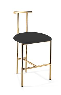 Bonded/ Synthetic leather Cushion seat stool bench with Polished Chrome / Gold Brass metal legs and back for bathroom, bedroom vanities, or bars. 18.5-inch seat height. Available with White and Black