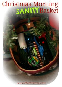 Christmas Morning SANITY Basket - Fabulous idea for keeping everything together and under the tree. Check the comments for more ideas!