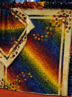 Rich #bargello #rainbow #quilt in autumn colors with leaf accents by Starr Design Fabrics at quilt market