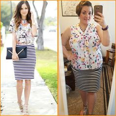 #ChubbyChique 6-8-2016 #ootd #beYOUtiful16 #pinneditspinnedit #june2016pinneditspinnedit Black and white striped skirt and floral top inspiration from @merricksart