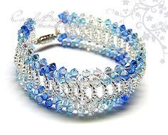 Swarovski Bracelet Fresh Blue Splendid Cuff Bracelet by candybead, $20.00
