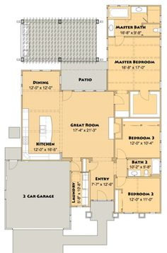 Craftsman 3 Beds 2 Baths 2001 Sq/Ft Plan #516-4 - Houseplans.com. Move kitchen sink out of island. This plan is very workable.