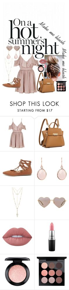 """""""Make me blush"""" by iamhis517 ❤ liked on Polyvore featuring Topshop, ZAC Zac Posen, Liliana, House of Harlow 1960, Wildfox, Lime Crime and MAC Cosmetics"""