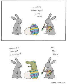 painting Easter eggs | Liz Climo comic via tumblr