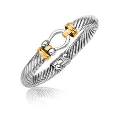 18K Yellow Gold and Sterling Silver Bracelet with a Horseshoe Style Station