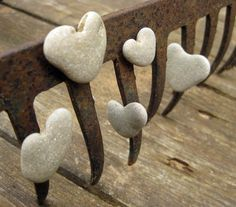5 Unusual magnets - natural Heart Shaped beach rocks