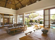 Openness - doors - Ceiling - intricate with lots of detail, Samoan Fale - Resort Karma Jimbaran, Bali Outdoor Rooms, Outdoor Living, Exterior Design, Interior And Exterior, Villas, Philippine Architecture, Balinese Interior, Bamboo Roof, Resort Interior