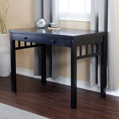 "Brian's potential desk. 40.25"" wide. Small Mission Writing Desk - Black $139.99"