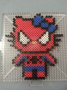 Hello Kitty Spiderman Perler Bead Figure by AshMoonDesigns on deviantART We are SO MAKING THIS!!!!