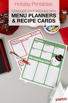 From Frosty and Rudolph, to gloves and mittens, these free printable holiday menus, recipe cards and shopping lists will make sure you're in bright spirits when you're getting ready for the season's festivities.