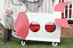 Cardboard Rocket Ship      Turn your wagon into a rocket ship this Halloween!  Cardboard Halloween Craft DIY