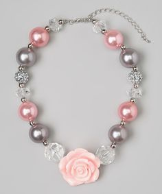 Gray & Light Pink Flower Bead Necklace   Daily deals for moms, babies and kids