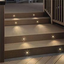 Deckorators offers a full line of deck lighting including post cap, rail, step and even baluster lights, all in stock at DecksDirect. These lights match Deckorators brand railing and balusters, and also coordinate with other deck products.