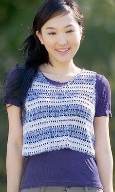 Crochet sleeveless shirt (a little more length...) - free Japanese diagram pattern