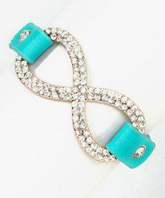 Love this Turquoise Rhinestone Infinity Bracelet on #zulily! #zulilyfinds