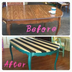 My friend's Thrifting addiction turned plain kitchen table into a custom piece for only 46 bucks! Click to see what paint she used.