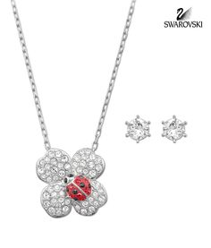 Swarovski Clear/Red Crystal BILLY Set CLOVER Earrings & Necklace #5086250