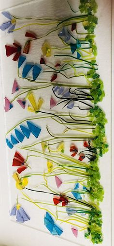 Before firing - fused glass wild flowers