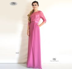 Sleeve Evening Dress in Rose Pink Style 9608 by Miracle Agency Evening Dresses With Sleeves, Formal Evening Dresses, Formal Bridesmaids Dresses, Bridal And Formal, Flowy Skirt, Pink Style, How To Look Classy, Pink Fashion, Formal Wear