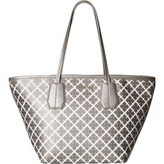 Kenneth Cole Reaction Nuevo Clover (Pearlized Silver/Milk) Bags ($40) ❤ liked on Polyvore featuring bags, handbags, silver, white handbags, man bag, handbags purses, print handbags and zipper handbag