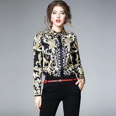 608e4095fc3 New Arrival 2018 Spring Fashion Vintage Print Turn down Collar Elegant Women  Blouses Casual Shirts Female
