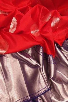 Red Handloom Kanjeevaram Pure Silk Saree #kanjeevaramsaree# Kanjivaram Sarees Silk, Indian Silk Sarees, Kanchipuram Saree, Soft Silk Sarees, Bridal Silk Saree, Designer Bridal Lehenga, Organza Saree, Saree Wedding, Saree Dress