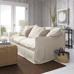 I fell in love with this sofa when I sat on it. Oasis Sofa from Crate and Barrel. White Sofas, Comfortable Sofa, Coastal Decor, Coastal Entryway, Coastal Farmhouse, Modern Coastal, Coastal Furniture, Coastal Cottage, White Furniture