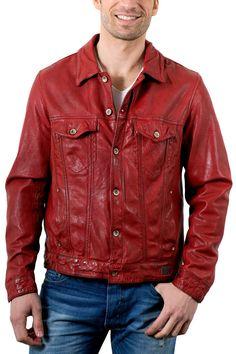 Veste cuir rouge redskins
