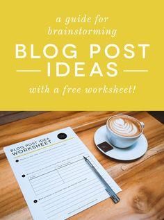 Free Worksheet to Brainstorm Blog Post Ideas