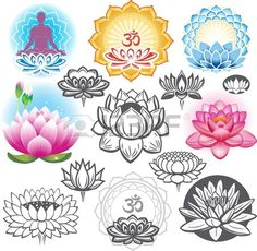 Set Of Lotuses And Esoteric Symbols Royalty Free Cliparts, Vectors, And Stock Illustration. Image 20237028.